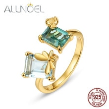 ALLNOEL 925 Sterling Silver Ring For Women Resizable Design Synthetic Topaz Green Amethyst  Bee Ring