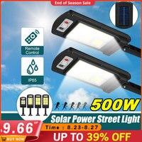 500W 128 COB Солнечный светодиодный уличный светильник движения PIR Сенсор интеллектуальный пульт дистанционного управления Управление Водонеп...