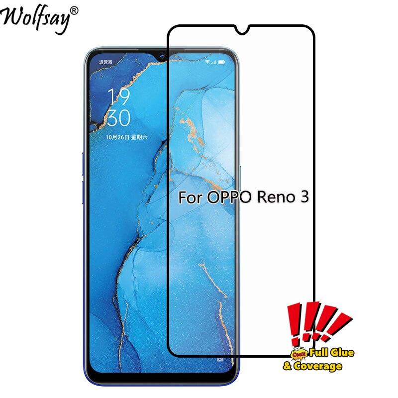 9H Защита экрана для OPPO Reno 3 Закаленное стекло OPPO Reno 3 Полное покрытие защитная пленка, стекло для OPPO Reno3 6,4