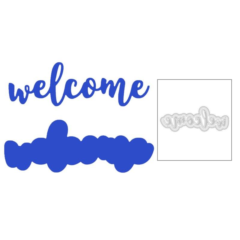 2020 nova letra inglês palavras bem-vindo e silhuetas de corte metal dados para diy corte cartão scrapbooking fazendo sem selos