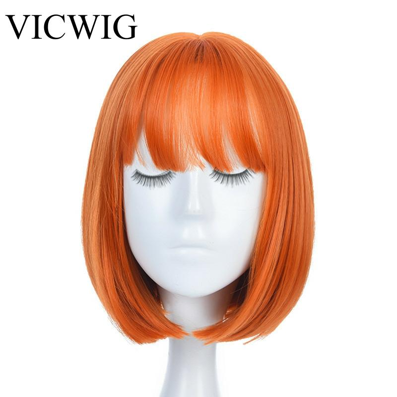Women Orange Short Cosplay Wig with Bangs BOb Hairstyle  Heat Resistant Fiber Synthetic Straight Hair fashion side bang short straight orange charming kousaka honoka cosplay wig with double chignons