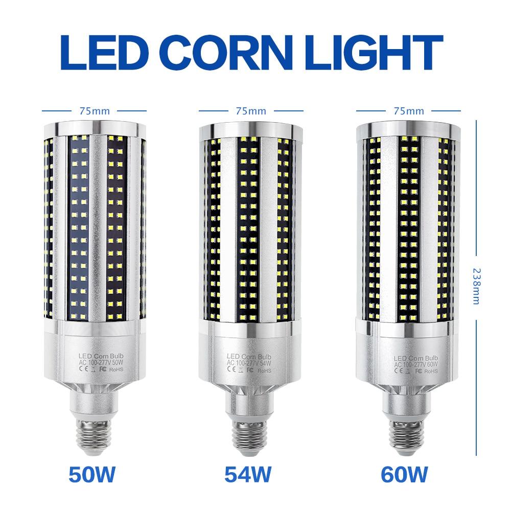 High Power Corn Lamp LED E27 220V Lampada LED Bulb 50W 54W 60W LED Lamp E39 Light Bulb 110V Factory Basement Workshop Lighting
