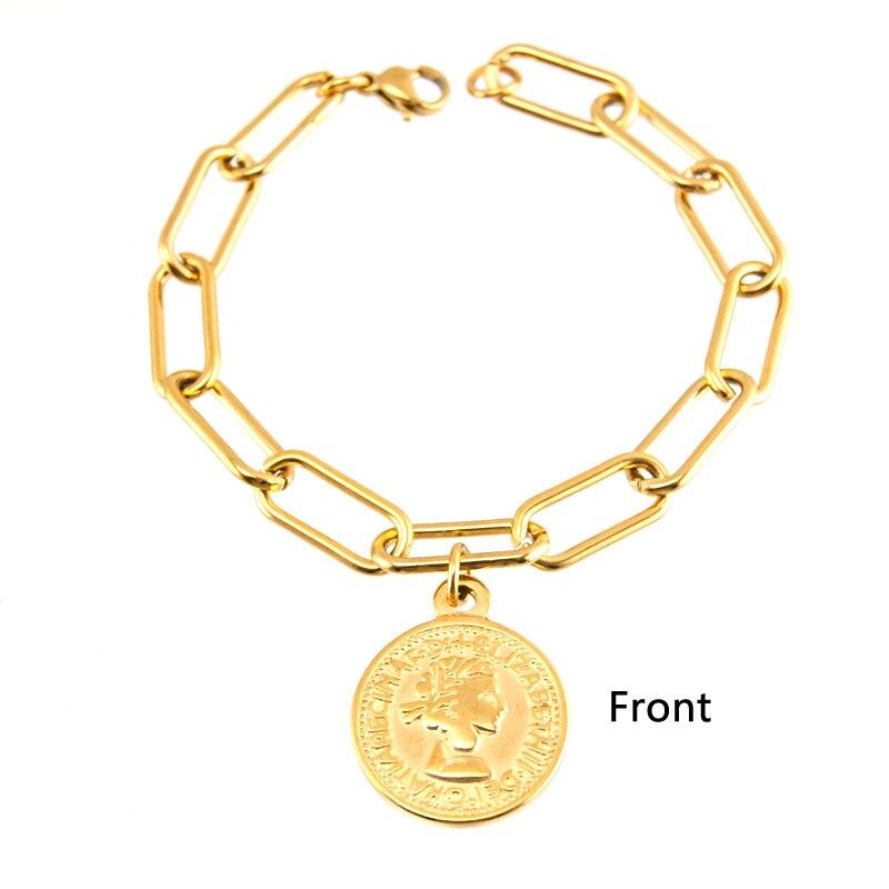 Pulseras con dijes de monedas de cadena larga en O para mujer color plata/oro Acero inoxidable hechas