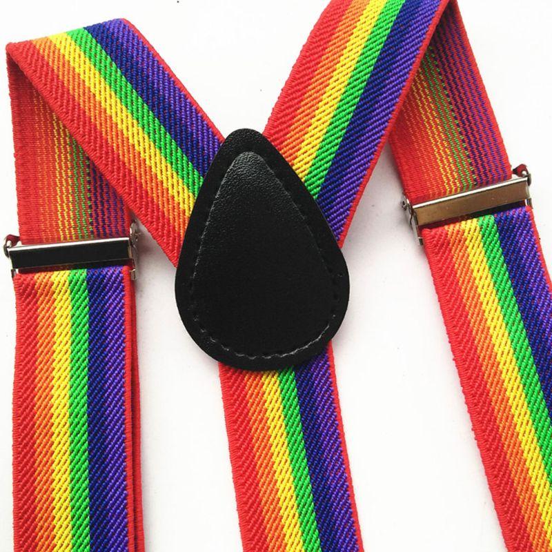 Цветной полосатый ремень радуга нагрудник брюки ремни зажим взрослый унисекс подтяжки пряжка регулируемый плечо ремень