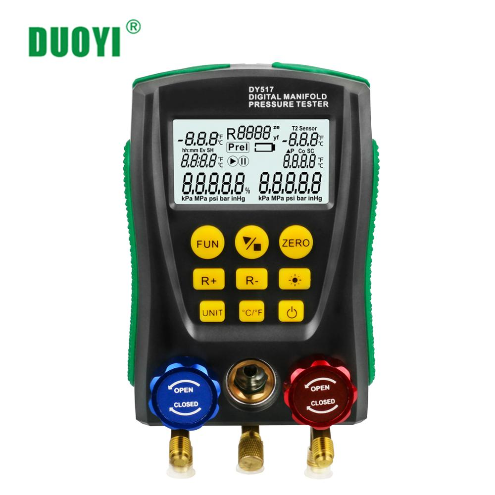 DUOYI جهاز قياس درجة الحرارة أدوات السيارات DY517 ضغط التبريد المنوع الرقمية HVAC متر قياس الضغط مقياس R410A المبردات