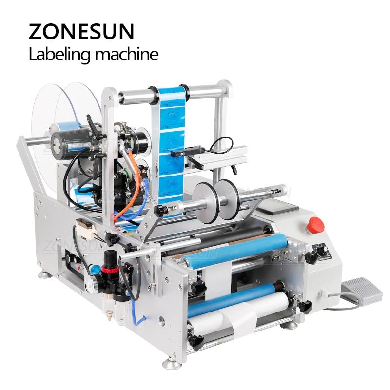 ZONESUN Labeller Automatic Plastic Round Glass Bottle Double Side Labeling Machine Sticker