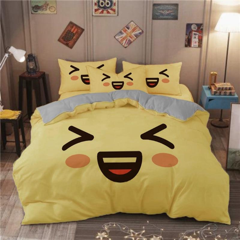 ابتسامة الوجه لطيف التعبير طقم سرير فتاة الأبيض الوردي الأصفر بولي الاطفال حاف الغطاء مع المخدة غطاء لحاف أغطية سرير مزدوج