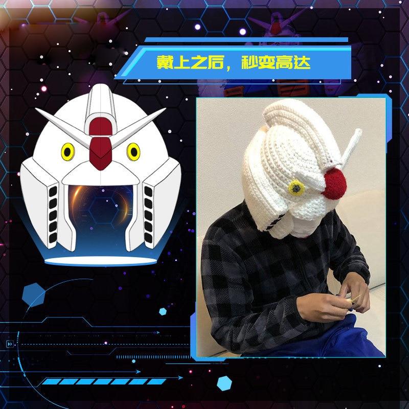 Traje móvil de Anime japonés Gundam Kido Senshi Gandamu Cosplay sombrero de lana caliente divertido gorro de invierno sombrero de punto de moda