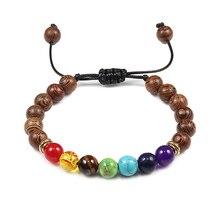 Hommes chauds perles de bois naturel Bracelets Onyx méditation prière perle 7 Chakra Bracelets et Bracelets femmes en bois Yoga bijoux pulseira