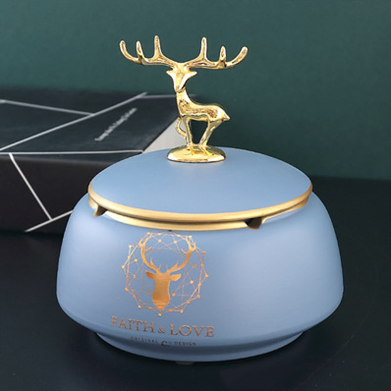 Nordic ceramic ashtray creative home living room INS personality trend office ashtray with cover fashion European