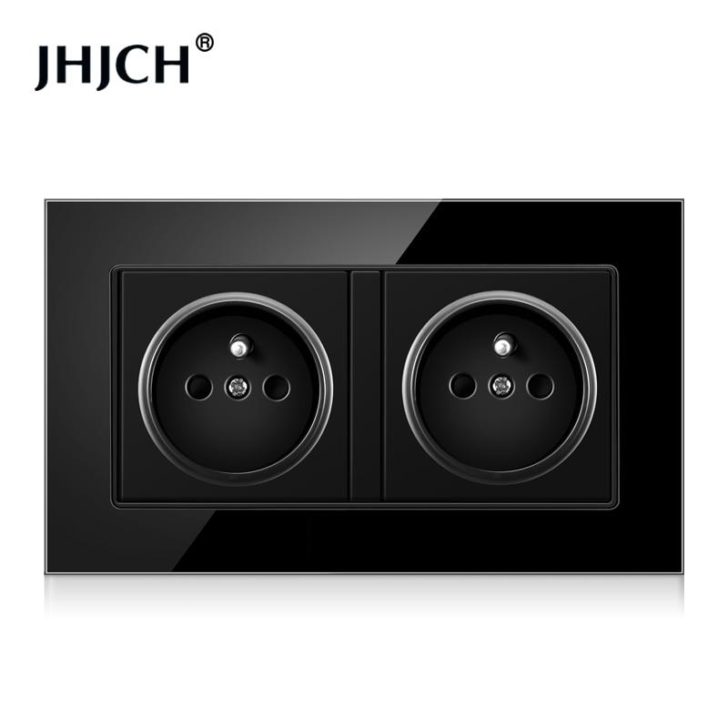 JHJCH-enchufe de pared de doble marco de Francia, panel de cristal blanco/negro de 16A y 220V, 146mm x 86mm, toma de corriente d