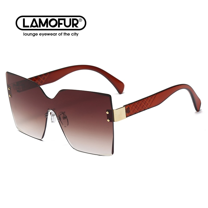 2021 New European And American Big Frame Conjoined Fashion Sunglasses Ladies Frameless Trimming Ocea