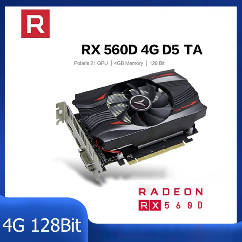 Graphics Card Video Graphics Cards RX560D 4G 128bit GDDR5 Gaming Desktop Computer Video Graphics Cards Computer Accessories