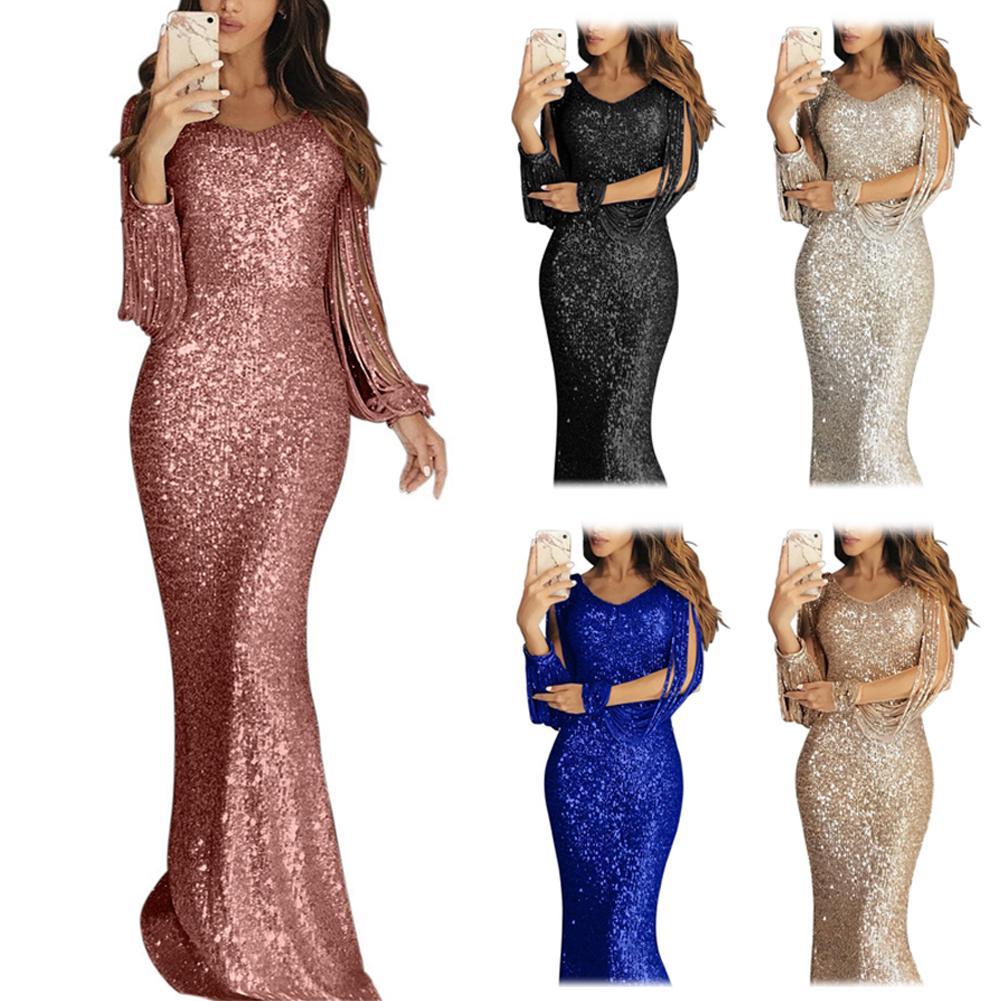 Plus Size Chic Women Sequined Tassel Long Sleeve V Neck Bodycon Party Maxi Dress Elegant Party Dress For Ladies dress Vestidos