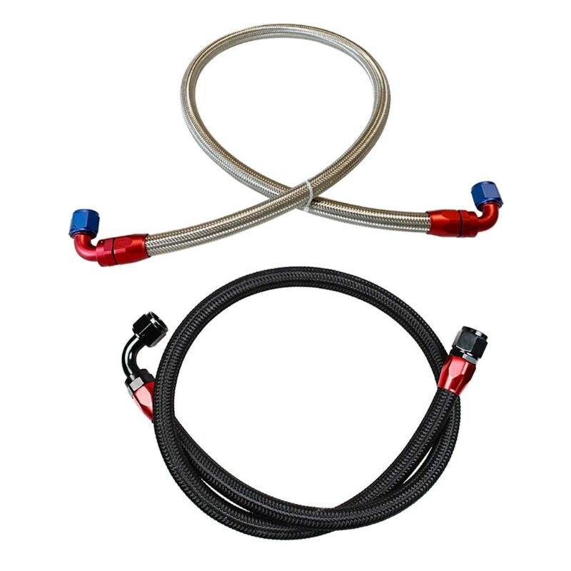 1m an10 aço inoxidável/linha de mangueira de óleo de fio de malha brained náilon tubo de giro do carro w91f