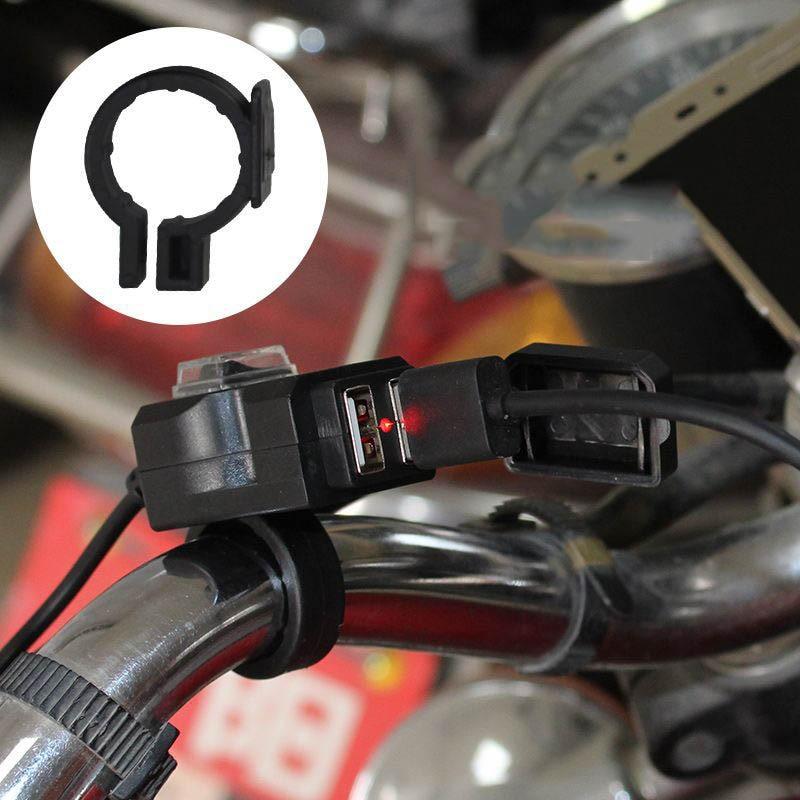 Hot 12-24V Dual USB Motorcycle Handlebar Phone Charger Socket Waterproof Switch Mounts J99