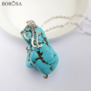 """New Arrival Freeform Howlite Pendant Necklaces Jewelry 26"""" Chain Necklaces Blue Turquoises Silver Plated Necklace Women WX1361-N"""