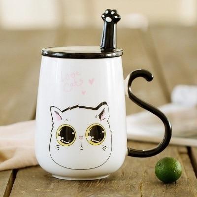 Gato cerâmica caneca de café com colher e cobrir bonito criativo grande 450ml saudável escritório e uso doméstico gato caneca de café conjunto colher w