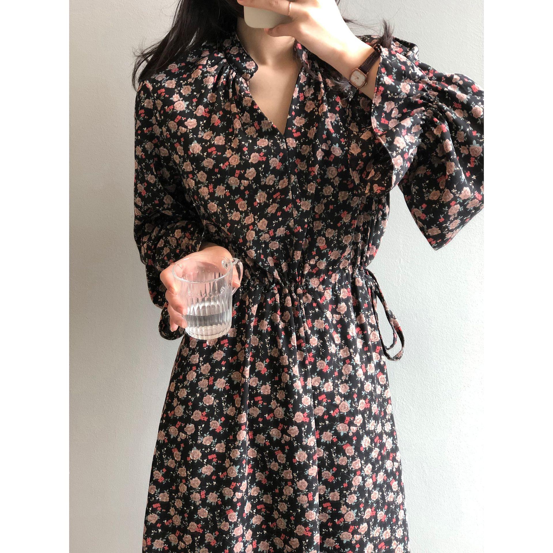 CMAZ Women Midi Dress Vintage Floral Print Chiffon Boho Long Dress Turn Down Collar Casual Elegant Shirt Dresses Vestidos 80090#
