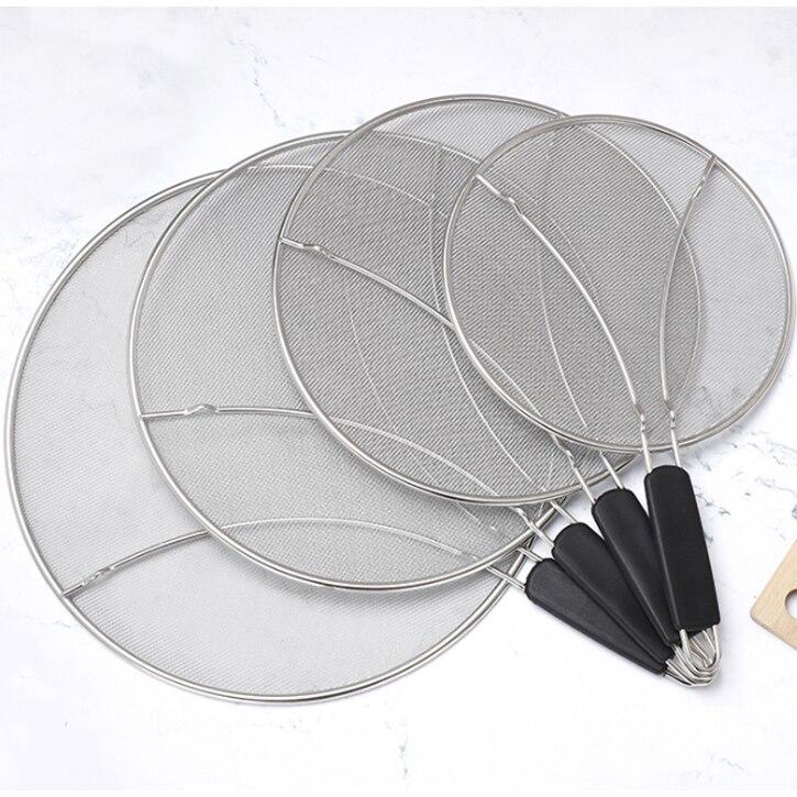 Premium Kitchen Fine Mesh Stainless Steel Oil Splash Guard Skillet Grease Splatter Screen For Frying Pan Supplies