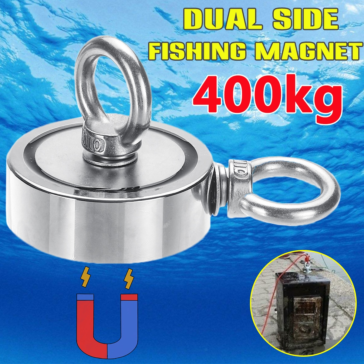 400kg/250kg/150kg imán de neodimio fuerte gancho redondo imán de salvamento pesca en aguas profundas soporte magnético de caza del tesoro