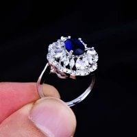luxury brand 925 sterling silver wedding sapphire ring for women 3 carats aaa cubic zirconia ring fine jewelry ring box party