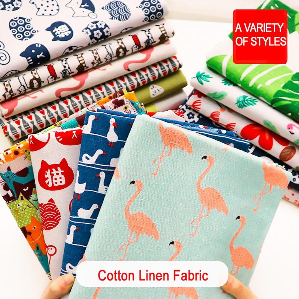 Cortina de tela de lino de algodón estampada de 100x145cm, mantel de algodón para manualidades, acolchado hecho a mano y costura, Mantel Individual, Material de bolsas