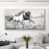 double running horses handmade oil painting canvas paintings wall art hand painted animals painting abstract modern home decor