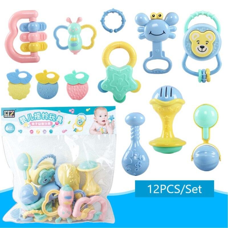 12Pcs/Set Baby Rattle Toys 0-12 Months Jouet Bebe Cartoon Hand Grip Soft Rattles Shaker Teether Infant Newborn Educational Toys
