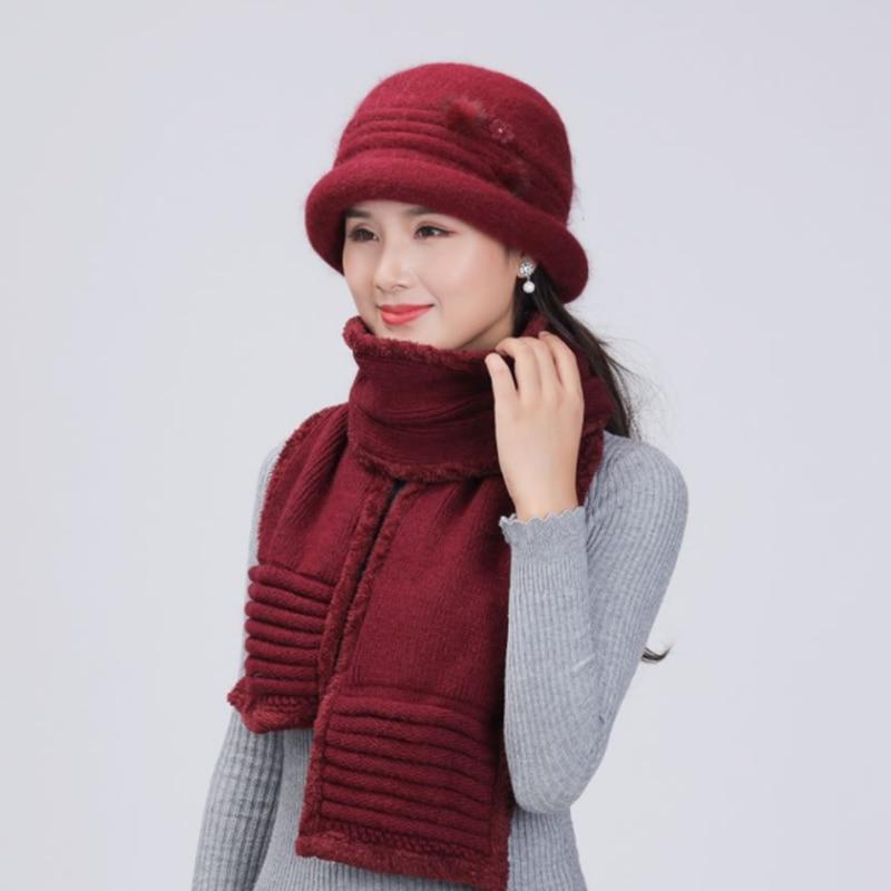 2020 Winter Cap Casual Skullies Beanies For Ladies Rabbit Fur Knitted Hat Scarf Fashion Mother Beanie Bonnet Warm Ski Cap