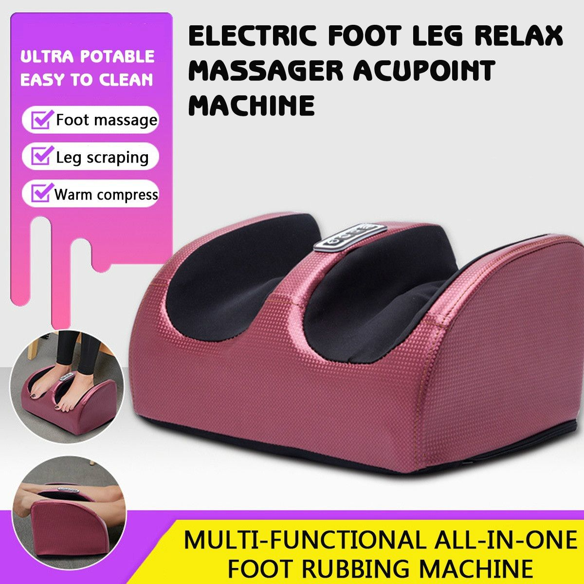 6-in-1 Electric Foot Massager Shiatsu Kneading Foot Calf Leg Plantar Massager Infrared With Heating Roller Massage Machine
