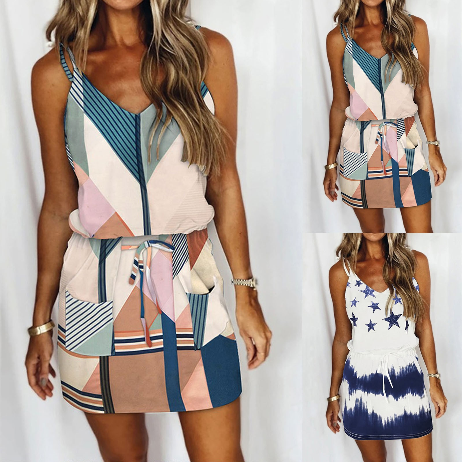 2021 New Women's Fashion Casual V-neck Short Sleeve Strap Open Back Sexy Print Dress Boho Summer Dre