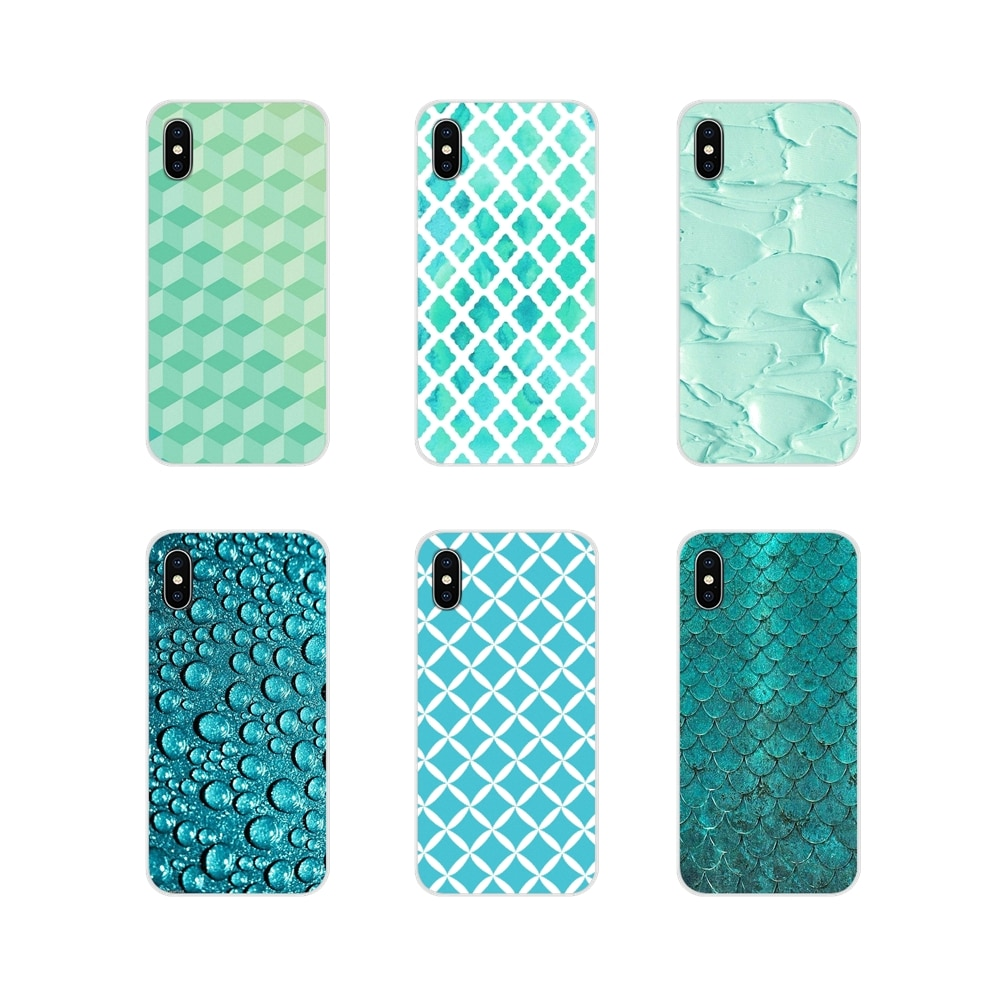 Funda de silicona para LG G3 G4 Mini G5 G6 G7 Q6 Q7 Q8 Q9 V10 V20 V30 X Power 2 3 K10 K4 K8 2017, funda moderna Aqua plateado verde menta