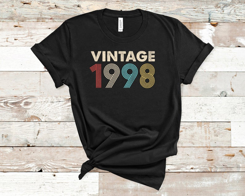Vintage 1998 Shirt Birthday Distressed Retro Fade 23rd GiftBirthday Party Short Sleeve Tees Top Plus Size O Neck Female Clothing