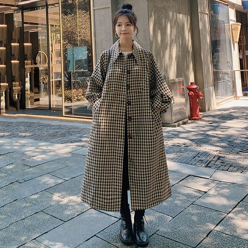 المرأة windbreak er2021spring الخريف جديد منقوشة الكورية فضفاض فانوس الأكمام موضة واحدة الصدر عالية الجودة معطف الإناث 3Z