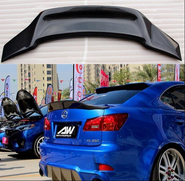 Es de fibra de carbono Real para alerón trasero de coche maletero labio Spoilers para Lexus IS200 IS250 IS300 2006, 2007, 2008, 2009, 2010, 2011, 2012
