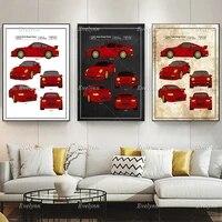 porsche car patent retro postercar collector print home decor canvas wall art prints sports car living room decoration gift