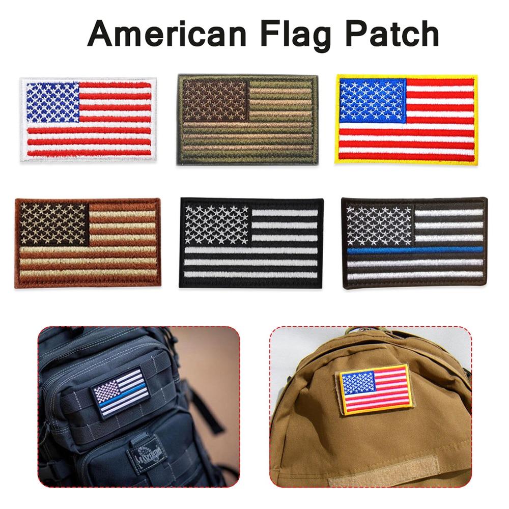 Parche de bandera bordado americano de hilo bordado, parche táctico militar patriótico de ee.uu. para planchar o coser en cualquier prenda