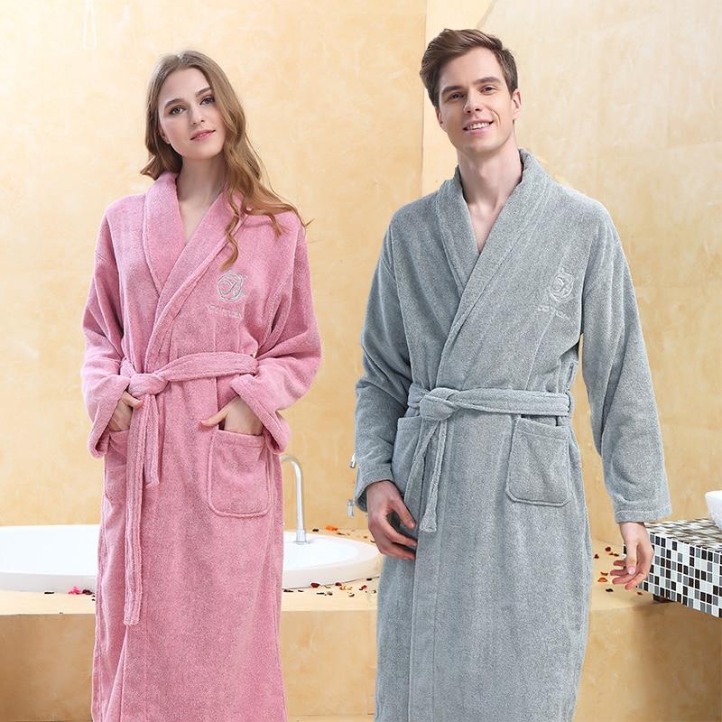 Winter Bathrobe Men Male Hooded 100% Cotton Terry Towel Long Bathrobe Men's Hotel Home Thick Warm Dressing Gown Kimono Robes
