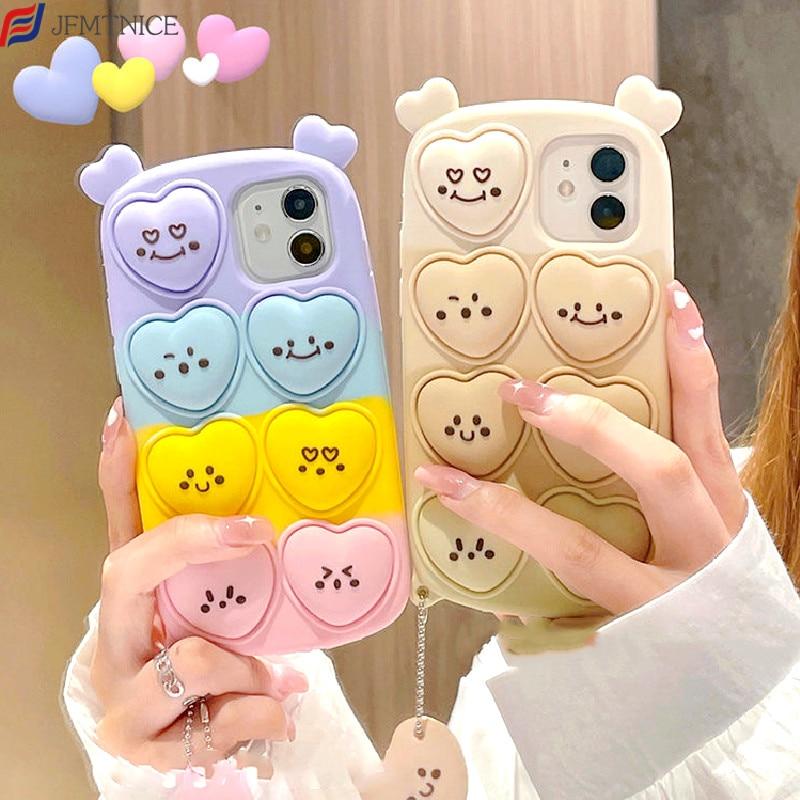 3D Cute Cartoon Smile Love Ornament Phone Case for Honor 10i 20 Lite 9X Huawei P40 P30 Lite Mate 40