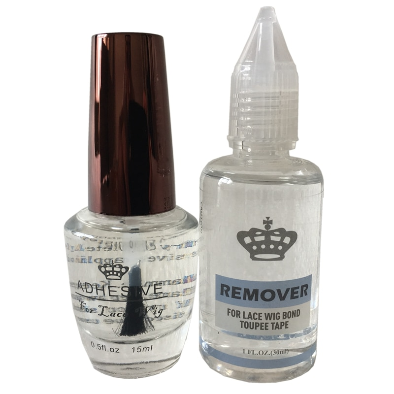 Wig glue remover kit 1 bottle 0.5 Oz 15 ml lace adhesive wig glue with 1 bottle 1 Oz 30 ml remover for lace wig glue