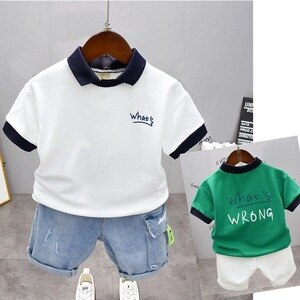 New Summer Children Fashion Boys Lapel T-Shirt And Shorts 2Pcs/SetBaby Clothes Suit Toddler Casual Clothing Kids Tracksuits