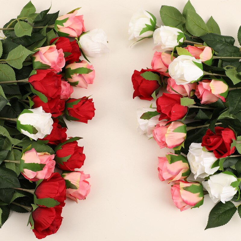 Silk Rose Flowers Artificial Faux Flower Farmhouse Decor Flores Artificiales Para Decoracion Hogar White Fake Rose Lover Gift