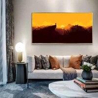 Peinture a lhuile avec pic a voir  peinture sur toile dart de lever du soleil  salon  couloir  bureau  decoration murale de la maison