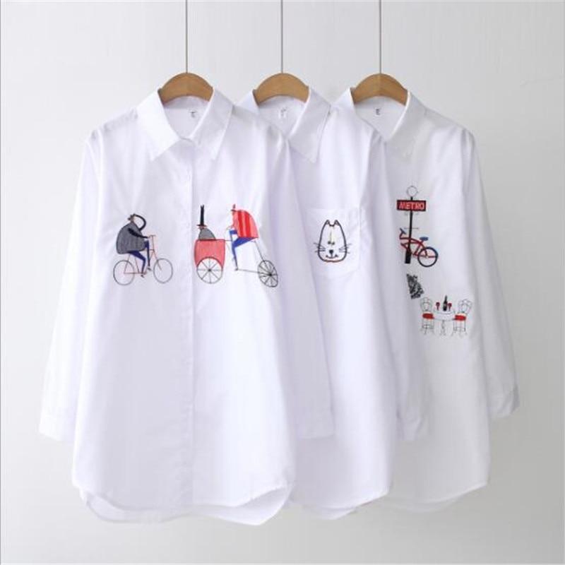 Dioufond gato bordado camisa feminina 2020 primavera nova moda feminina blusa de manga longa branco camisas casuais soltas topos blusas