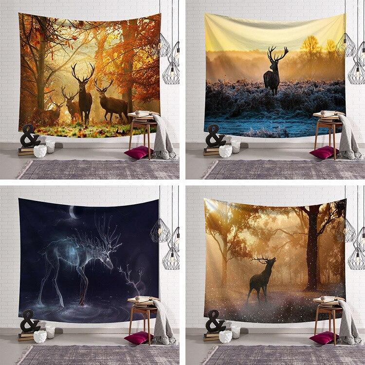 Elk strolling floresta tapeçaria parede pendurado arte grande cervos tapeçaria tecido decorativo cobertor toalha de praia tapeçaria 130x150cm