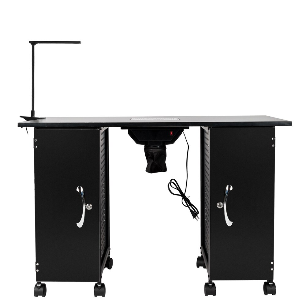Manicure Table Nail Table Iron Manicure Station Large Table with LED Lamp & Arm Rest Salon Spa Nail