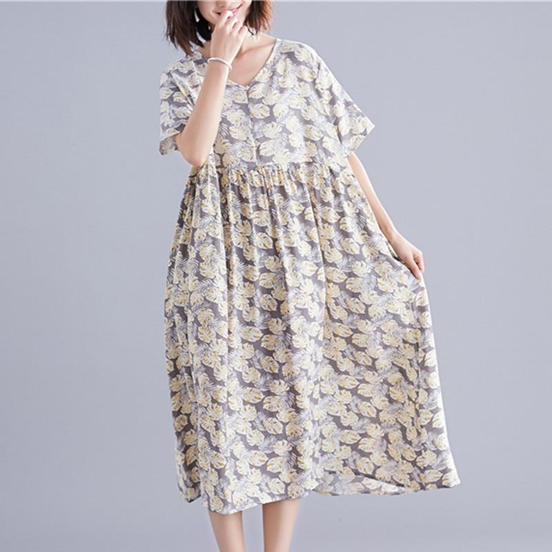 Uego Thin Soft Cotton Linen Holiday Beach Casual Dress V-neck Short Sleeve Loose Summer Dress Print Floral Women Vintage Dress