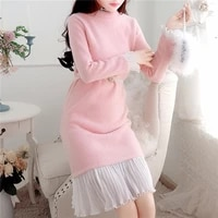 womens clothing outfit new winter thickening coat dress autumn knitted vestido dresses girl leisure long sleeve design outfit