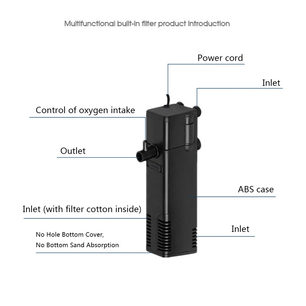 Купить с кэшбэком New Style Submersible Water Filter Pump Aquarium Fish Tank Pond Oxygen Increasing Pump Tool Aquarium Filter Accessories